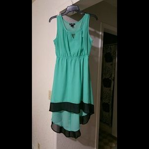 NWOT Sea green and black high low dress